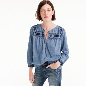 J. Crew Petite embroidered chambray top